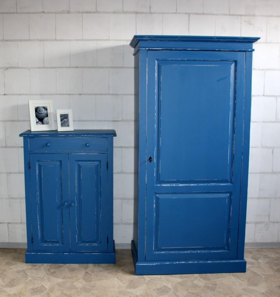 Dielenschrank blau Kiefer antik lackiert Vintage