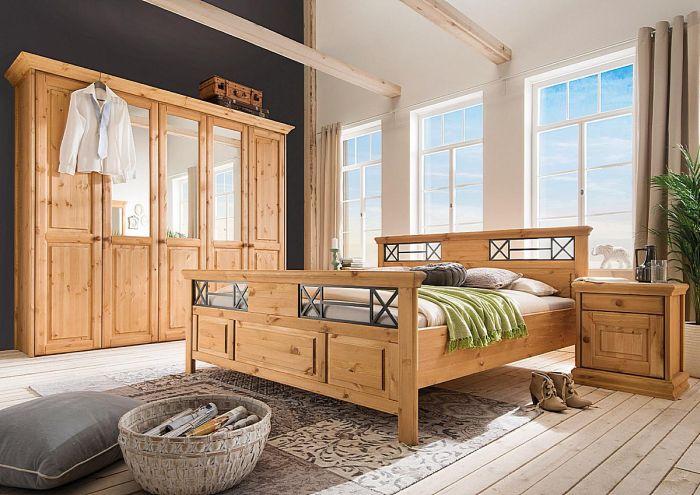 Riga Kleiderschrank gelaugt geölt Kiefer massiv Holz Schlafzimmerschrank