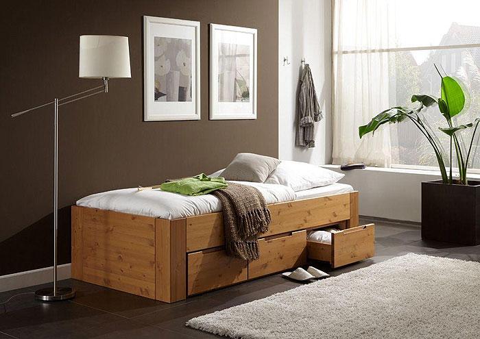 JOBO Kojenbett mit Schubalden - Kiefer massiv Holz - Oberfläche: cognac lackiert