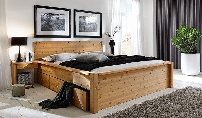 JABO Schubladenbett mit Nachtkonsolen - Kiefer massiv gelaugt geölt