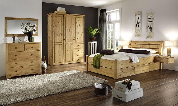 Stauraumbett - Bett mit Schubalden Kiefer Massiv Holz gelaugt geölt