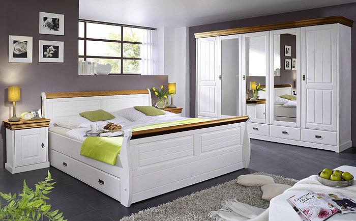 Schlafzimmer Neapel - weiß gewachst und honig abgesetzt - Kiefer massiv Holz