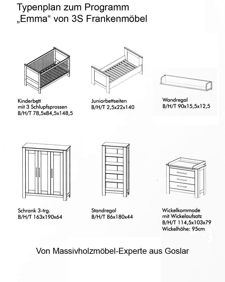 Typenplan zum Programm Emma - Kiefer massiv Holz Möbel 2013
