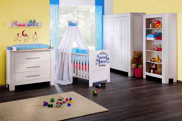 Babyzimmer Emma - weiss gewachst - Kiefer massiv Holz