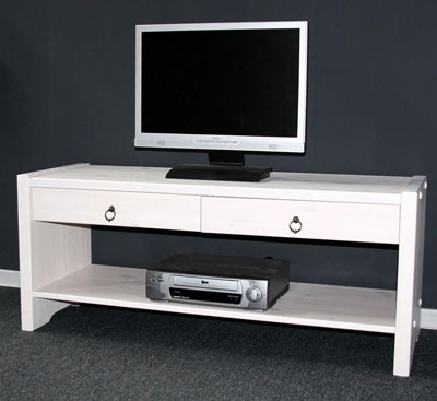 Sitzbank TV-Bank TV-Möbel Kiefer massiv Holz Helsinki weiß antik