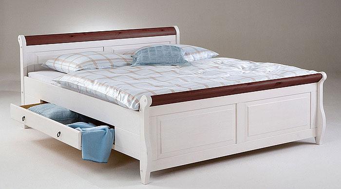 Helsinki Doppelbett mit Schubladen Kiefer massiv Holz weiß kolonial - Euro Diffusion