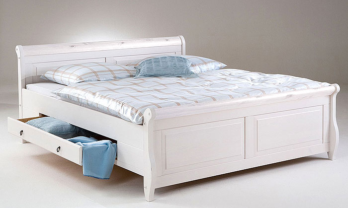 Helsinki Doppelbett mit Schubladen Kiefer massiv Holz weiß lasiert - Euro Diffusion