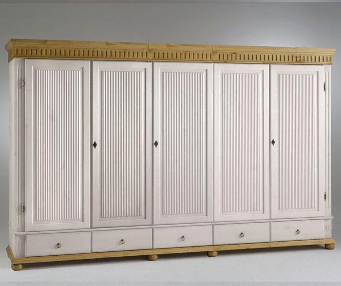 Schlafzimmerschrank Helsinki 5 Türen. Kleiderschrank Kiefer massiv - Euro Diffsuion