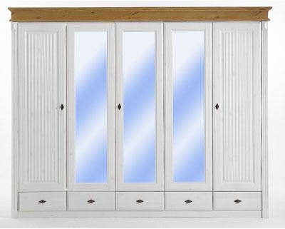 Kleiderschrank Kiefer massiv Holz Schlafzimmerschrank 5 türig weiß lasiert