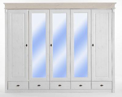 Kleiderschrank weiß Kiefer massiv Holz mit Spiegeltüren Eva