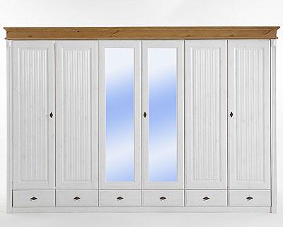 Kleiderschrank weiss Kiefer massiv 6 türig mit Spiegeltüren