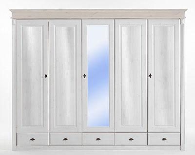 Kleiderschrank Kiefer massiv Holz und Spiegel weiß lasiert