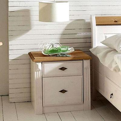 Nachttisch Kiefer massiv Holz weiß gelaugt Eva