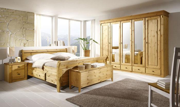 Schlafzimmer Kiefer Dora massiv Holz komplett set Oberfläche gelaugt geölt