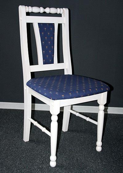 Stuhl mit Polster Kirsten Kiefer massiv Holz weiss lasiert