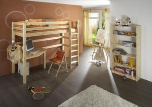 Etagenbett mit Schreibtisch Holz