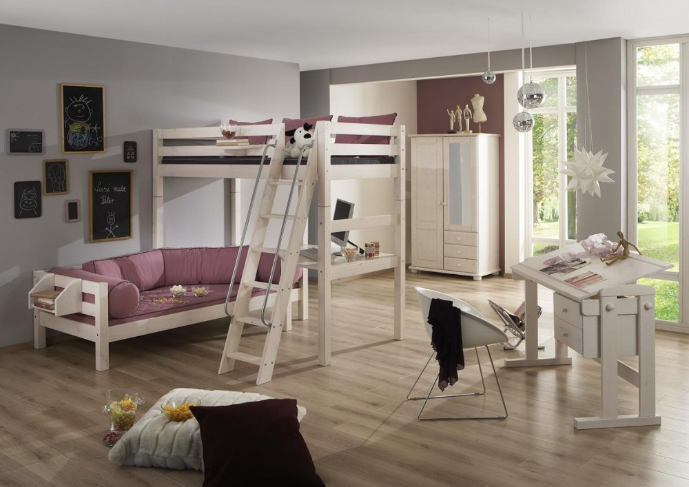 Hochbett mit Schreibtisch und Regal