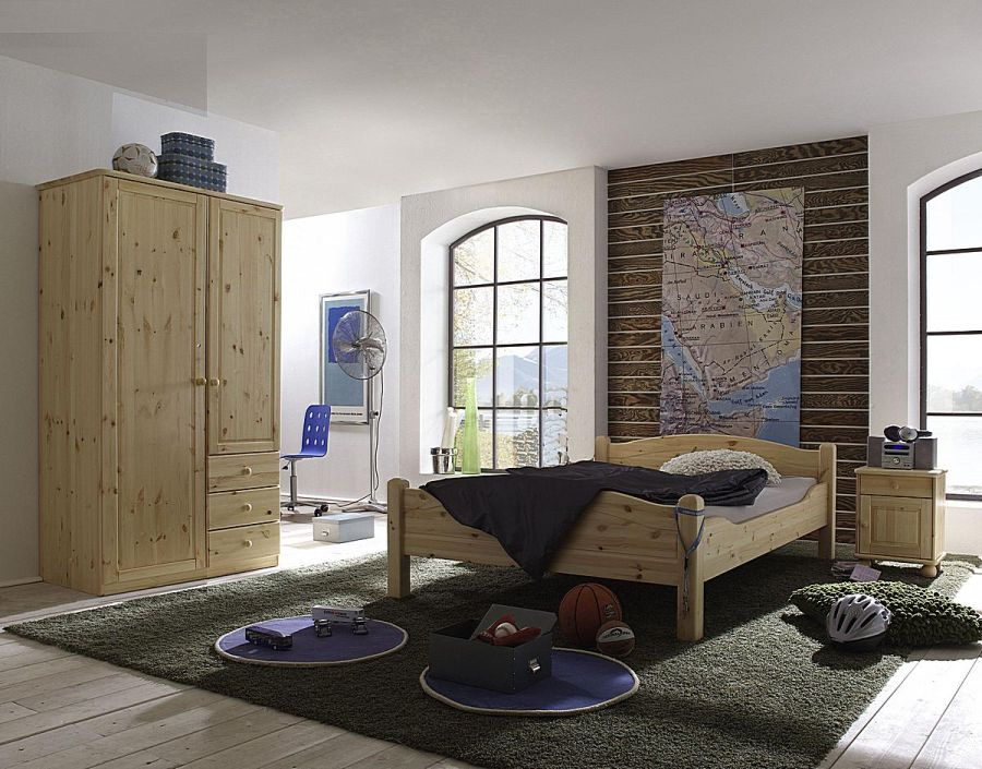 Bett 140×220 Cm Aus Massivem Kiefernholz, Gelaugt Und Geölt