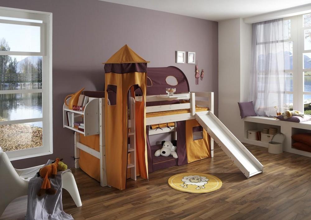 Bett mit Rutsche weiß Fantasy Kinderzimmer