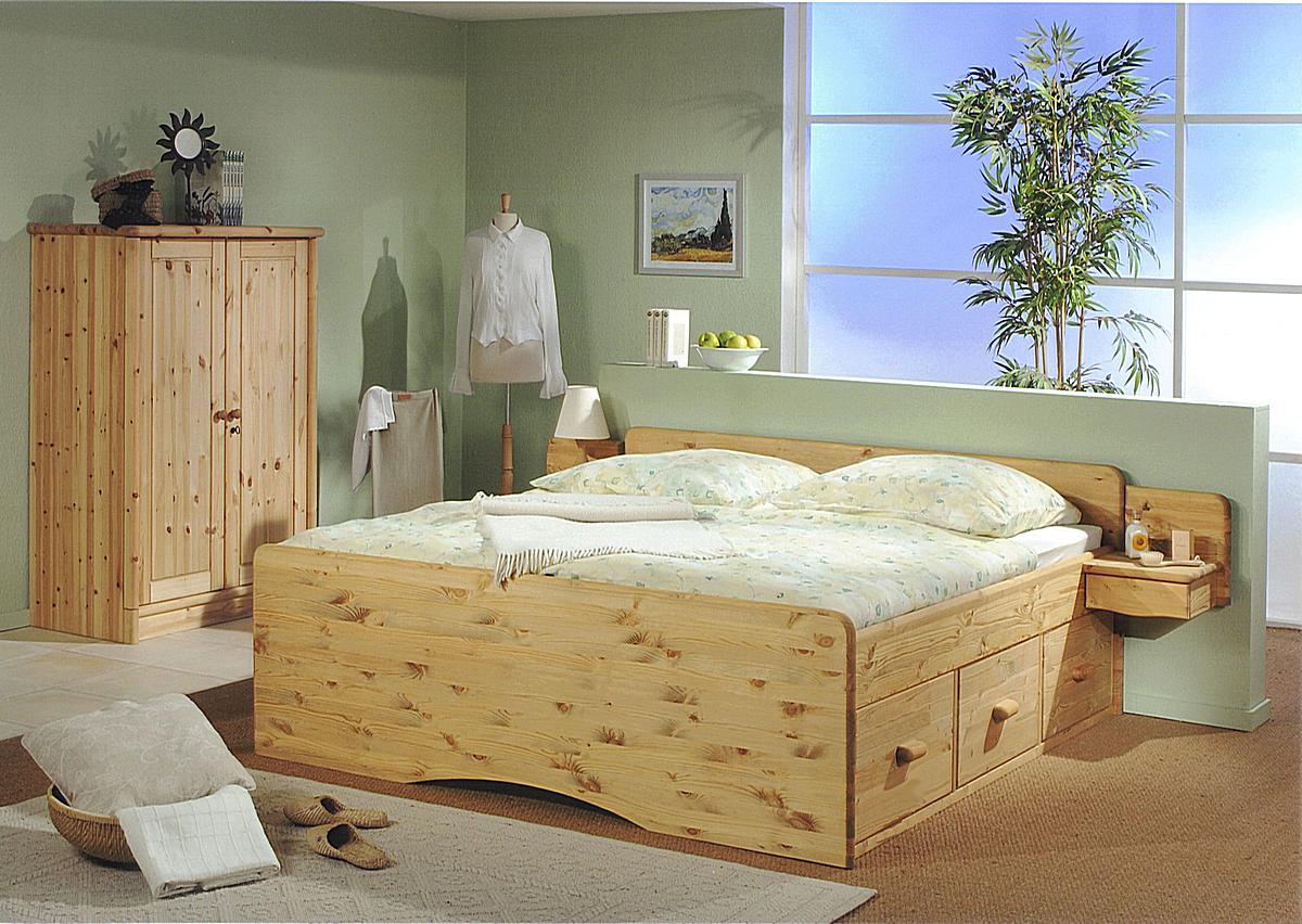 bett 140 200 holz mit schubladen. Black Bedroom Furniture Sets. Home Design Ideas