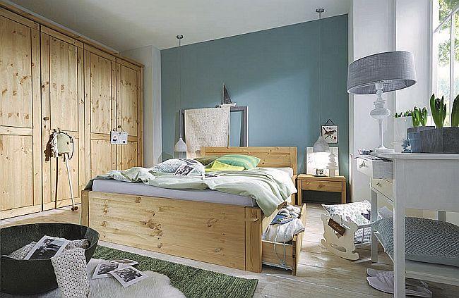 Kiefernmöbel Doppelbett masssiv Holz