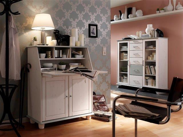 sekretär kiefer massiv weiss lackiert arbeitszimmer